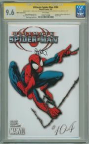 Ultimate Spider-man #104 White Variant CGC 9.6 Signature Series Signed Bendis & Bagley Sketch Marvel